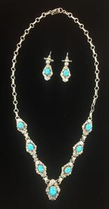 007 Kingman Spiderweb Turquoise Necklace and Earring Set